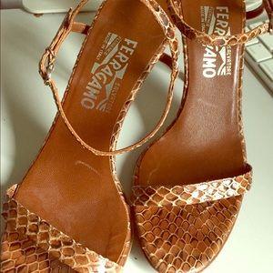 Ferragamo snake skin open toe heels